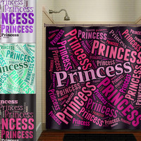 word art Pink Princess Girl shower curtain bathroom decor fabric kids bath white black custom duvet cover rug mat window