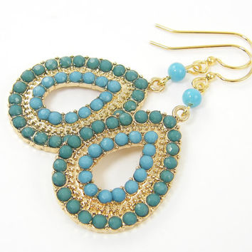 Gold Boho Earrings with Turquoise and Aqua Beads, Aqua Drop Earrings, Turquoise Bead Earrings