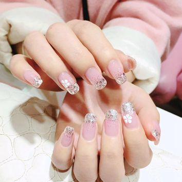 Clear Light Pink French Fake Nail Silver Glitter False Nails DIY Nail Art Tips Manicure Nails Salon Products Z033