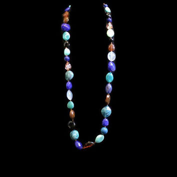Multi Color Glass Bead Necklace, Boho Jewelry, Blue, Turquoise, Brown, Black, Peach, And Clear