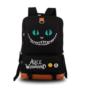 Cheshire cat Backpack Unisex Fashion Backpack Laptop Backpack Black school bag