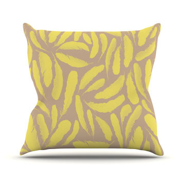 "Skye Zambrana ""Yellow Feather"" Tan Gold Throw Pillow"