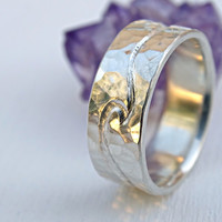 silver wedding ring two engraved waves, ocean ring silver wave ring, mens wedding band rustic, engraved silver ring hammered, cool mens ring