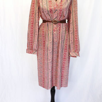 Vintage 70s 80s Long Sleeve Fall Shirt Dress Striped Pink Paisley Plus Size Large Hipster Boho Country Folk Schrader Sport Day Dress