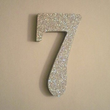 """SILVER GLITTER NUMBERS - Sparkling Silver Glitter Wall Numbers - 5"""""""