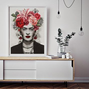 Art Canvas Print Poster Frida Kahlo Wall Decor Canvas Painting Wall Picture for Bedding Room