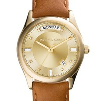 Women's Michael Kors 'Colette' Round Leather Strap Watch, 34mm - Brown/ Gold
