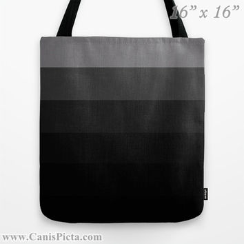 """Ombre """"Black Magic"""" 13x13 Graphic Print Tote Bag Dark Coal Black Onyx Ash Grey Color Fade Gift Her Spring Summer Back School Grocery Reuse"""