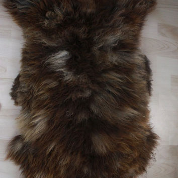 Genuine rare Natural HERDWICK Sheepskin Rug, Pelt, soft long fur  brown
