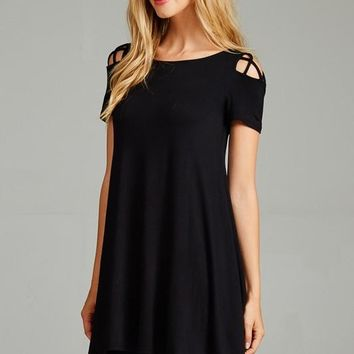 Criss Cross Shoulder Tunic - Black