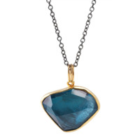 MARGONI 18K YELLOW GOLD AND STERLING SILVER LONDON BLUE TOPAZ PENDANT NECKLACE - TCW 13.5 Love Adorned