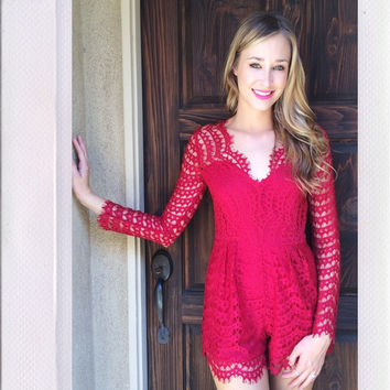 Soaked In Lux Playsuit- Red {Boutique Collection}