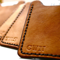 Mens timber brown leather wallet with money clip - personalized monogrammed