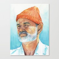Steve Zissou Art | Watercolor Portrait Canvas Print by Olechka