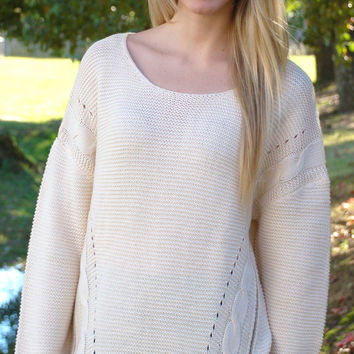 Zipped Right Up Sweater-Cream