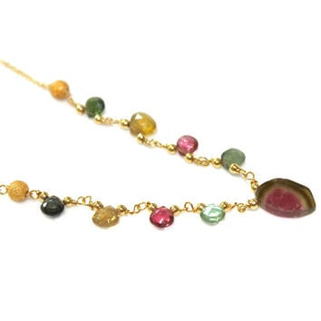 Watermelon Tourmaline Slice Necklace Tourmaline Necklace Bright Jewelry Rainbow Tourmaline Jewelry Fall Finds Delicate Necklace FizzCandy