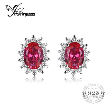JewelryPalace Princess Diana William Kate Middleton's 1.5ct Created Red Ruby Stud Earrings Genuine 925 Sterling Silver Jewelry
