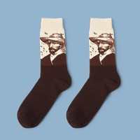 Van Gogh's Self Portrait Monochrome Sock