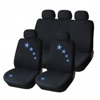 Adeco 9-Piece Car Vehicle Protective Seat Covers, Universal Fit, Black with Embroidered Blue Flowers, Airbag Compatible