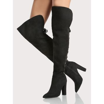 Back Lace Up Faux Suede Point Toe Boots BLACK