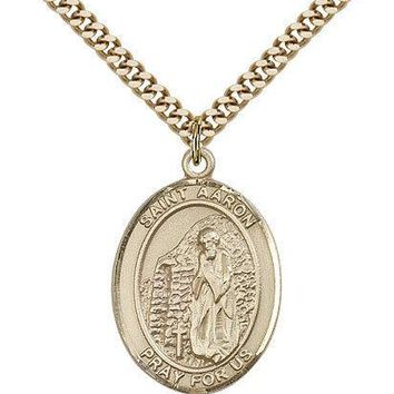 "Saint Aaron Medal For Men - Gold Filled Necklace On 24"" Chain - 30 Day Money ... 617759083309"