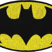 Batman Iron-On Patch Yellow Oval Bat Logo