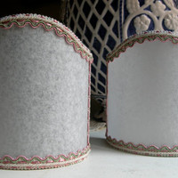 Pair of Wall Sconce Clip-On Shield Shades White Parchment Mini Lampshade - Handmade in Italy