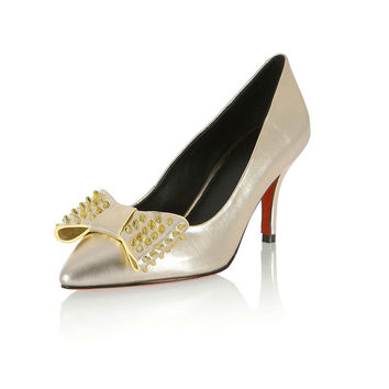 Genuine leather pointed toe party shoes rivets bow design