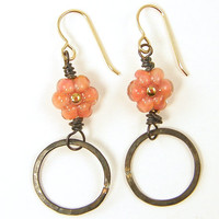 Peach Flower Earrings Coral Borosilicate Glass Floral Brass Rustic Brown Circle Hoop Jewelry