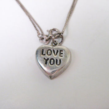 Vintage Sterling Heart Charm Necklace, Sweetheart Love You Charm Necklace