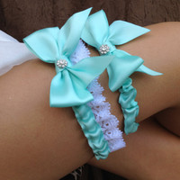 Tiffany Blue Wedding Bridal Garter Set  with by HopesBridal