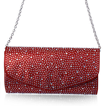 DC1989 Full Crystals Women Day Evening Party Clutches Cross Body Hot Fix Long Chain Red Blue Champagne Gold & Silver Colors Bags