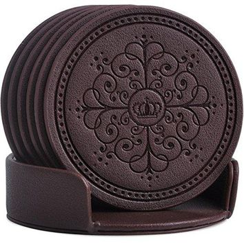 Drinks CoastersClassic Pattern Faux Leather Coaster Set of 6 with Holder Absorbent Coasters by Happydavid gold round