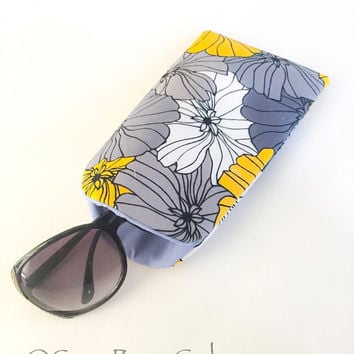 Gray and Yellow Floral Extra Large Sunglass Case, Fabric Sunglasses Case, Soft Glasses Case, Padded Glasses Sleeve