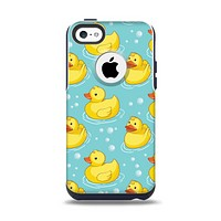 The Cute Rubber Duckees Apple iPhone 5c Otterbox Commuter Case Skin Set