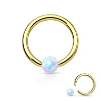 White Fire Opal Gold Captive Bead Ring