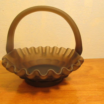 rare vintage brown glass candy basket