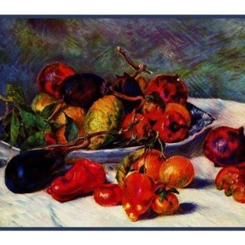 Still Life of Fruit inspired by Pierre Auguste Renoir's impressionist painting Counted Cross Stitch or Counted Needlepoint Pattern