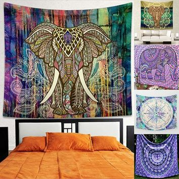ESBU3C Home Wall Decor Bohemian Style Elephant Colorful Mural Tapestry Rug Beach Towel Store 48