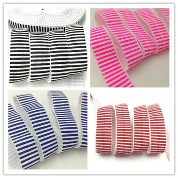 ROLL / Stripe Fold Over Elastic FOE 50 or 100 yard roll / 4 color choices
