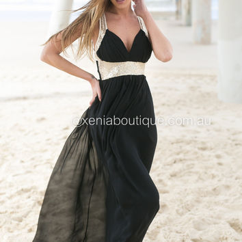Golden Moment Maxi Dress (Black)
