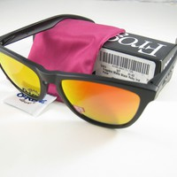 Oakley FROGSKINS Limited Edition Matte Black w/Ruby Iridium Polarized 24-402