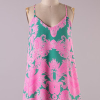 Vintage Print Racer Back Dress - Pink and Jade