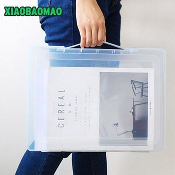 Newest! A4 File Storage Box Clear Plastic Document Case Desk Paper Organizers Large-capacity file box student school stationery