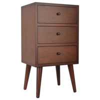 Decor Therapy Mid-Century 3-Drawer Storage Chest with Walnut Finish