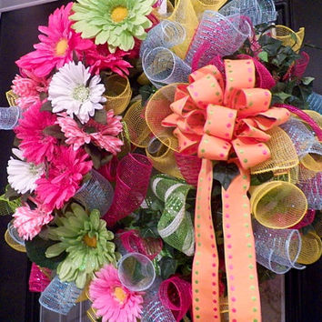 Deluxe Spring/Summer Deco Mesh Floral Wreath Ready to Ship