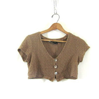 80s Cropped Shirt. button front belly top. Light sweater cardi