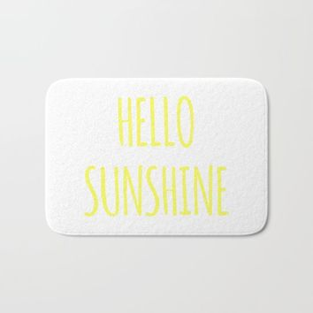 Hello sunshine funny hipster saying quote modern simple typography font art print Bath Mat by iGalaxy