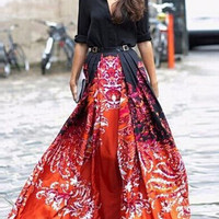 Black Floral Print Buttoned Collar Maxi Shirt Dress