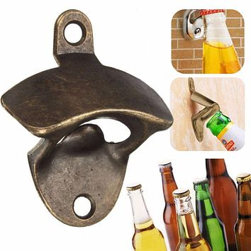 High Quality Vintage Bronze Wall Mounted Opener Wine Beer Soda Glass Cap Bottle Opener Kitchen Bar Gift